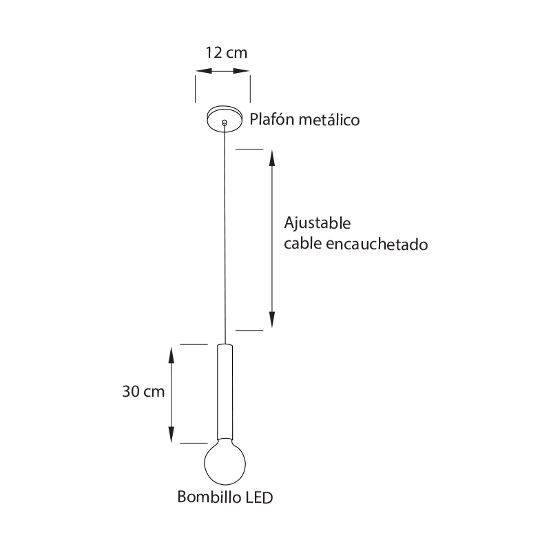 Lámpara colgante o de techo, ideal para barras de cocina o comedores medidas