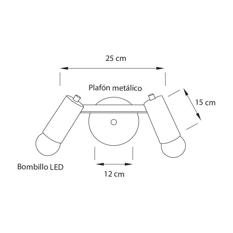 Lámpara Bento Spot 2L temporal, decorativa especialmente para dirigir la luz