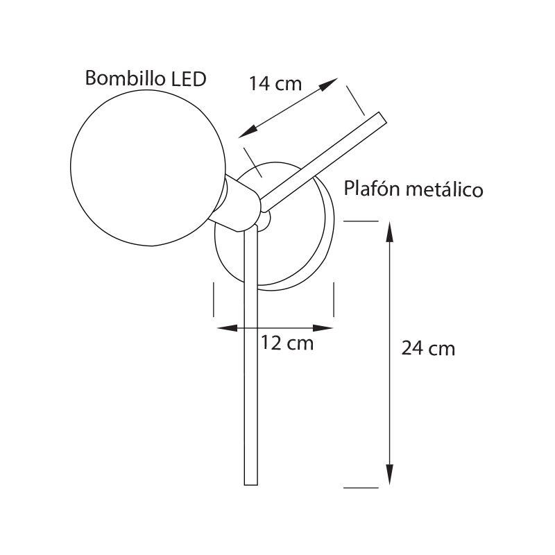 Lámpara Parma de pared AP1 ideal para comedores, corredores, habitaciones o salas medidas
