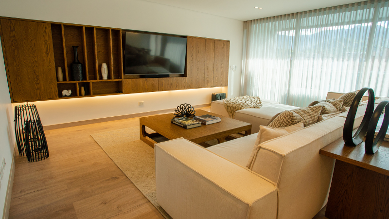 Diseño de iluminación para sala en proyecto residencial Torre Dalí